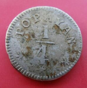 COLOMBIA - RARE SILVER 1/4 REAL VF COIN 1851 YEAR KM#108.2 POPAYAN MINT