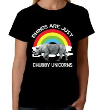 Velocitee Ladies T-Shirt Rhino Are Just Chubby Unicorns Funny W19121