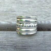 925 Sterling Silver Bali design Wide Band Ring Balinese Jewellery 17mm