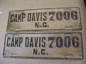 ORIGINAL WWII PAIR OF CAMP DAVIS NC NORTH CAROLINA LICENSE PLATE