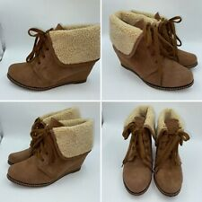 🌟Dune Peppa Size 5 38 Brown Faux Suede & Faux Sheepskin Lace Up Boots Womens