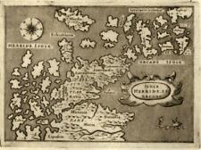 Hebrides Orkney Scotland Orcade 1576 Porcacchi miniature map sea monster