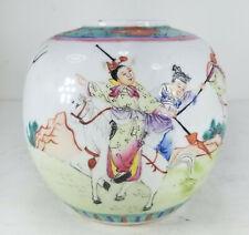 Antique Vintage Chinese Republic Enameled Porcelain Ginger Jar Enamel Figural
