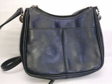 Worthington Purse shoulder Bag Black small Zipper Cowhide Leather w/ Vynil Trim