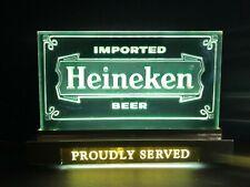 Vintage advertising Heineken beer proudly served lighted sign - Works Great
