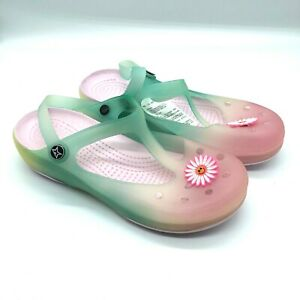 Womens Rubber Clogs T Strap Floral Ombre Pink Green Slip On Size 9