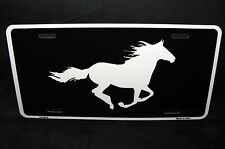 HORSE BLACK  METAL NOVELTY LICENSE PLATE TAG FOR CARS