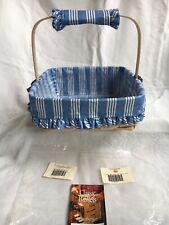 1998 Longaberger Natural Pie Basket Protector Liner Handle Gripper Sky Blue Str