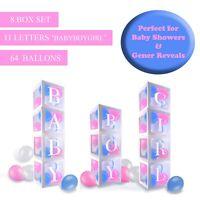 Baby Shower Boxes Party Decorations – 8 pcs Transparent Balloons Décor Boxes