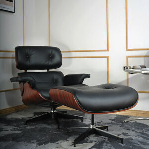 Eams Lounge Chair and Ottoman Genuine Real Leather Dark Rosewood Black Leather