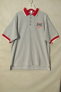 S6214 Detroit Red Wings Men's XL Gray/red/White Short Sleeve Polo 4 Buttons