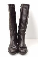 Leather Riding Boots 7 W Dark Brown Zip Up Tall Wide Buckle Equestrian