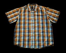 RIP CURL | Men's Collared Short Sleeve Button Front Shirt  | Blue/Brown | Size L
