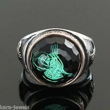 Mens ring 925 Sterling Silver Magic Crystal Ottoman's Signet TUGHRA