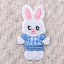 Small Boy Easter Bunny White Rabbit/Animals - Iron on Applique/Embroidered Patch