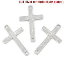 Lot of 10 Pieces Antique Silver Cross Crucifix Connector Charm Pendant - 1 PIECE