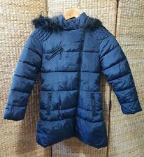 Next Girls Navy Blue Winter Puffer Puffa Jacket Coat with hood Size 9-10 yrs