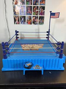 WWF Hasbro Ring w/ Round Posts & Belt & Flag!!  Titan Sports