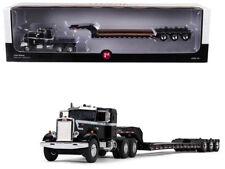 PETERBILT 351 SLEEPER W/ TRI AXLE LOWBOY TRAILER BLACK 1/64 FIRST GEAR 60-0415