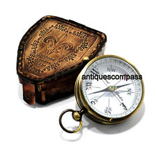 Vintage Collectible Antique Marine Compass Maritime Nautical With Leather Box