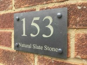 Rustic Slate House Gate Sign Plaque Door Number Personalised Name Plate engraved