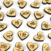 Wooden Wedding Heart Love Words Table Confetti Mr Mrs I Do Bride Groom Rustic