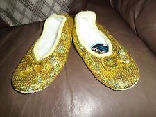 SNOOZIES IRIDESCENT SEQUIN BALLET SLIPPERS GOLD WOMEN'S SMALL NEW