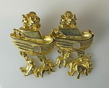 NOAH'S ARK CLIP EARRINGS Gold Tone with Animal Charms Elephants Lions Zebras +