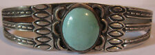 VINTAGE NAVAJO INDIAN SILVER TURQUOISE CUFF BRACELET