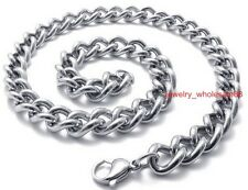 Lot 5pcs Stainless steel Men's Jewelry Silver Cowboy chain necklace 8mm 24''