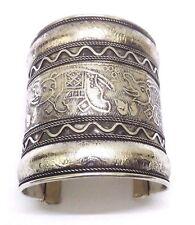 ELEPHANT Silver Oxidized Cuff Bracelet Charm Wristlet Wristband Bangle Jewelry E