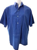 Vintage Blue Embroidered Large Shirt Short Sleeve Casual Summer