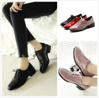 Women's Solid Round Toe Loafers Lace up Low Block Heel Casual Bling Shoes New Sz