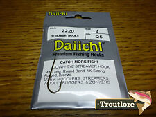 25 x DAIICHI 2220 #4 LONG STREAMER HOOKS for WET FLIES & NYMPHS - NEW FLY TYING