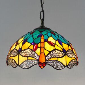 "12"" Pendant Lamp Tiffany Stained Glass Shade Dragonfly Bead Retro Fixture Light"
