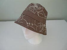 NEW MONSOON ACCESSORIZE TAUPE COTTON FLORAL BOHO BUCKET HOLIDAY SUMMER SUN HAT