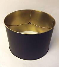"""Luxury Metal Matte Black Gold Brass Drum Lamp Shade 12.25"""" Retail $440"""