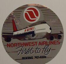 """Northwest Airlines 1989 Sticker 4""""  diameter - First 747-400"""