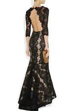 Alice+ Olivia JAE Lace Gown Black Dress Long Sleeve Red Carpet Diva 2K+ Sm US4