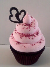 VALENTINES DAY GOURMET RED VELVET FAKE CUPCAKE WITH CAKE CRUMBS AND OPEN HEART