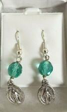 Miraculous Medal Earrings March Birthstone Beads Silver Plated Surgical Steel