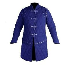 Thick Blue Gambeson Medieval Padded Full Sleeves Armor Reenactment Larp