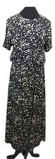 ORVIS Dress Size 14 Black White Floral L53in Summer Rayon Vintage Evening Party
