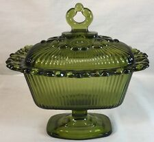 Vtg Depression Glass Compote Candy Dish Indiana Glass? Green Ribbed