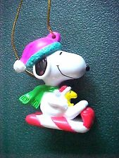 Miniature Peanuts Snoopy & Woodstock on Candy Cane Sled Christmas Ornament