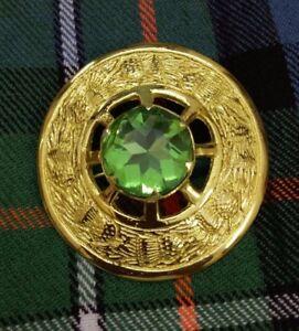 "Scottish Fly Plaid Brooch Gold Finish Irish Green Stone Ladies Pin Brooches 3"""