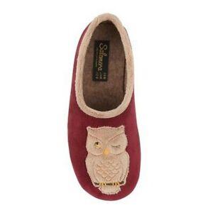 Sleepers memory foam slip on slippers style Holly owl  Colour Burgundy sz eu 41