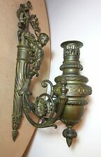 large antique 1800's gilt bronze Victorian oil lamp electric figural wall sconce