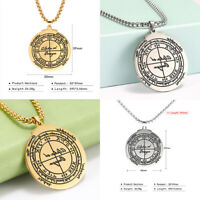 Stainless Steel Good Luck Pendant Necklace Pagan Wiccan Talisman