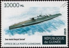 WWII SURCOUF French Cruiser Submarine Warship Stamp (2015 Guinea)
